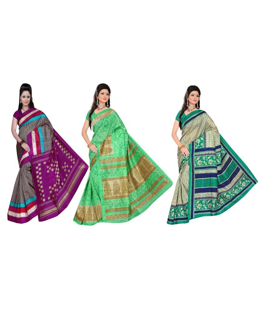 Winza Designer Green and Grey Cotton Silk Saree