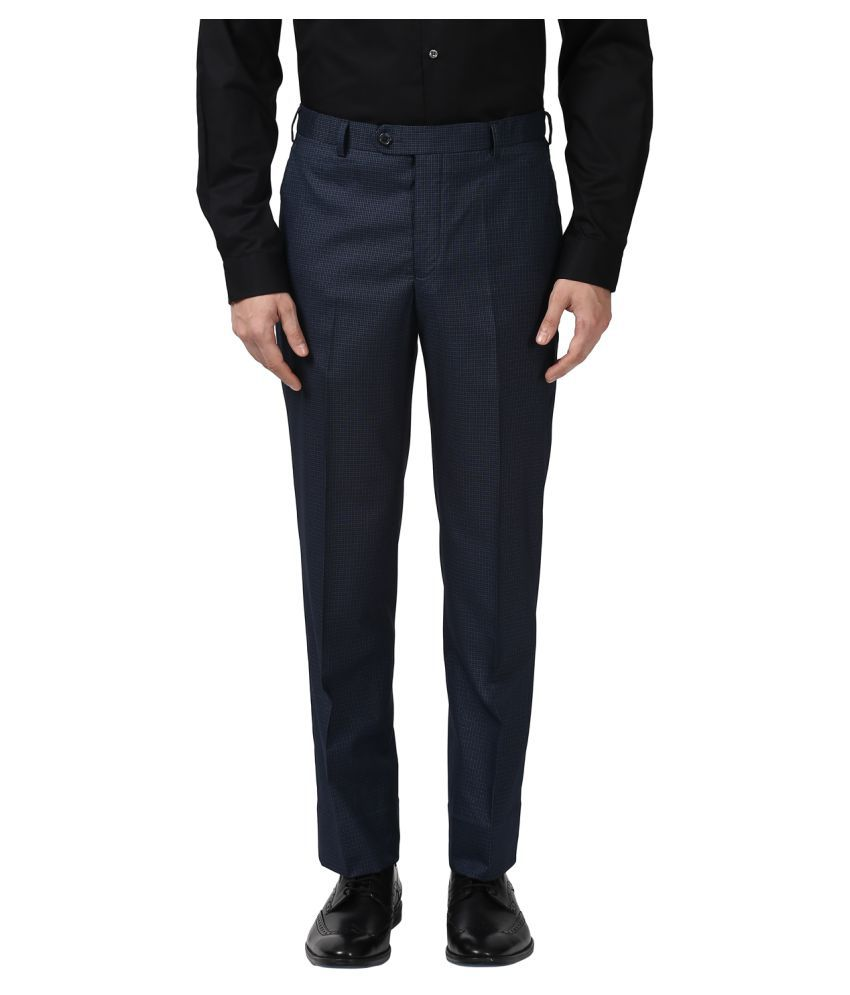 Park Avenue Blue Regular -Fit Flat Trousers