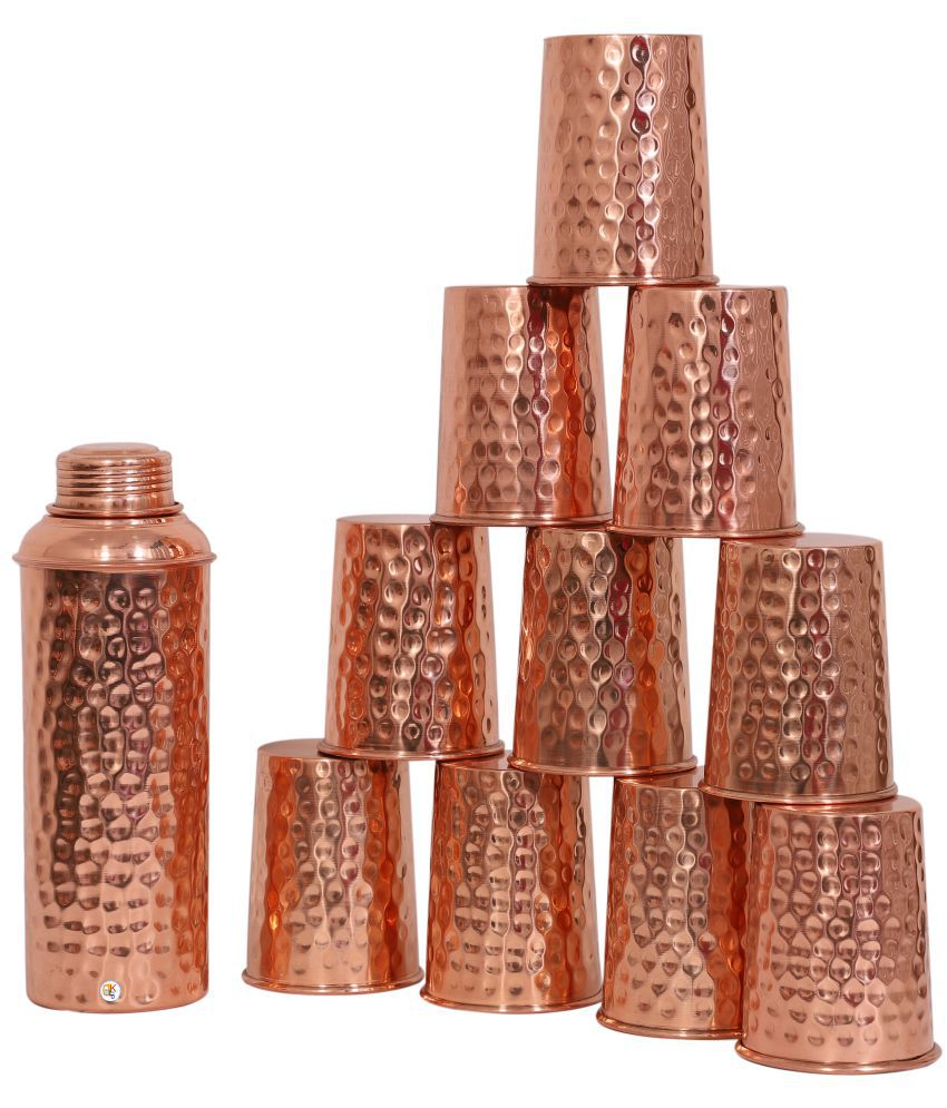 KDT Copper Bottle With 10 Glass 11 Pcs Jug and Glass Combo
