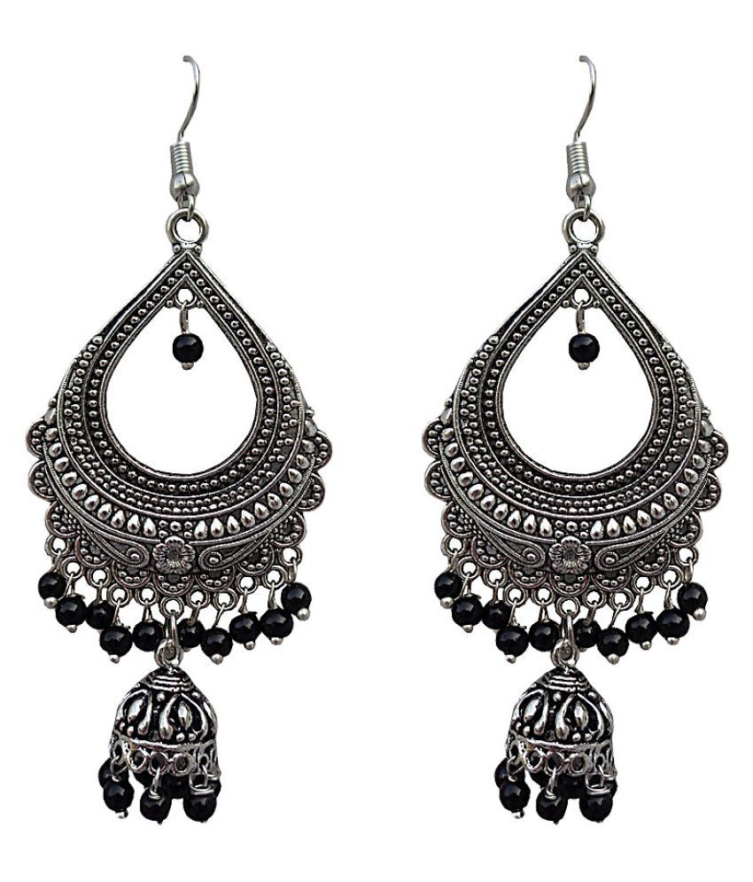 34ce2c566 ... Earrings With Black Beads - Buy Trendeela.com Vanya Oxidised Silver  Chandbali Earrings With Black Beads Online at Best Prices in India on  Snapdeal