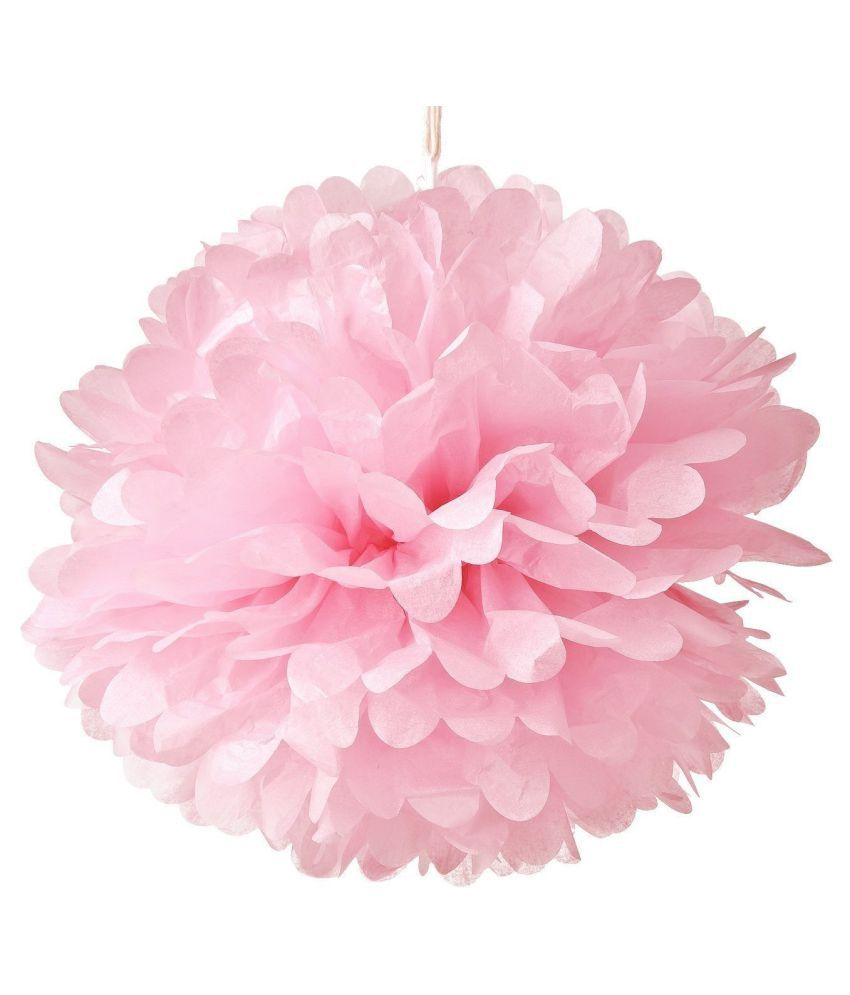 Optimus Traders Light Pink Tissue Paper Flower Pom Poms 5pcs 12 Wedding Birthday Party Nursery Baby Shower Decoration