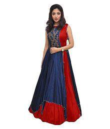 M G Enterprise Red Bangalore Silk Anarkali Gown Semi-Stitched Suit