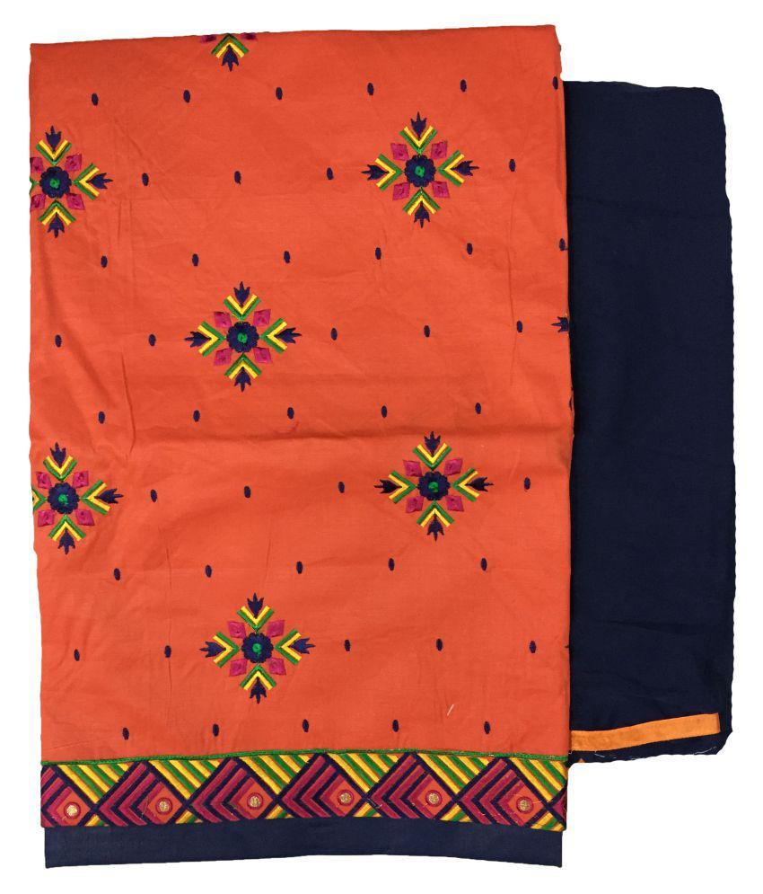 Anjali Orange Cotton Dress Material