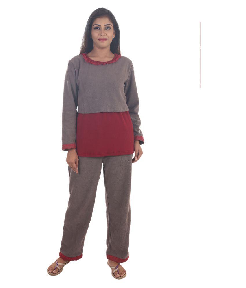 9teenAGAIN Brush fleece Nightsuit Sets - Multi Color