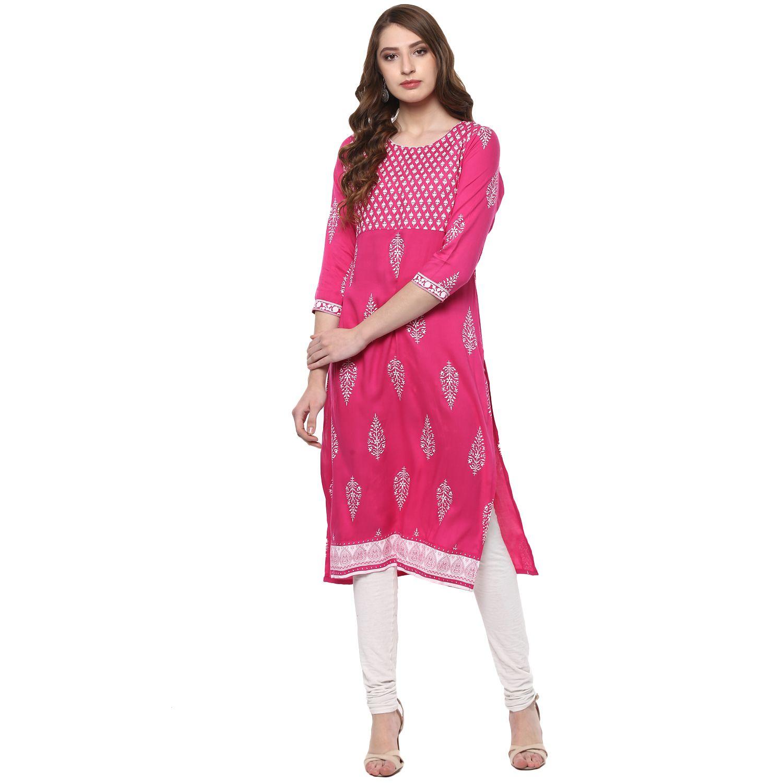 Vedic Pink Cotton A-line Kurti