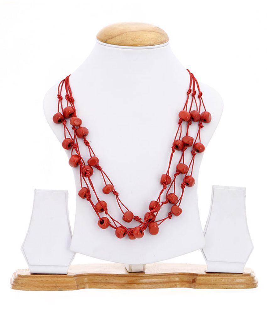 Zeneme Fancy Wear Multi-Strand Designer Red Necklace Jewellery for Women/Girls