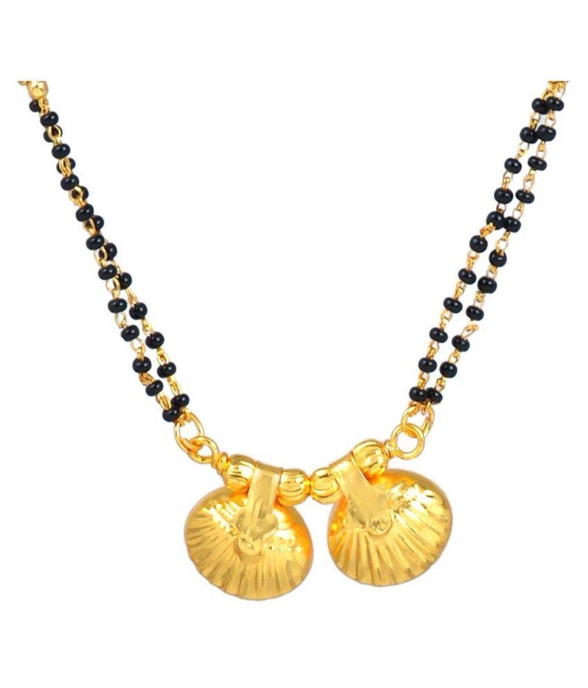 DzineTrendz Gold plated Brass Carved Double Wati Mangaslutra necklace jewellery Women Girls