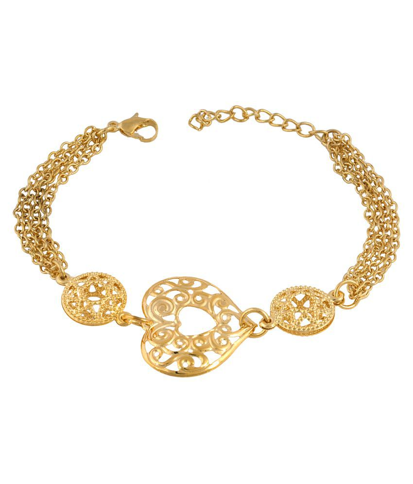 DzineTrendz Gold plated Heartshape light weight Bracelet jewellery for Women girls collegewear