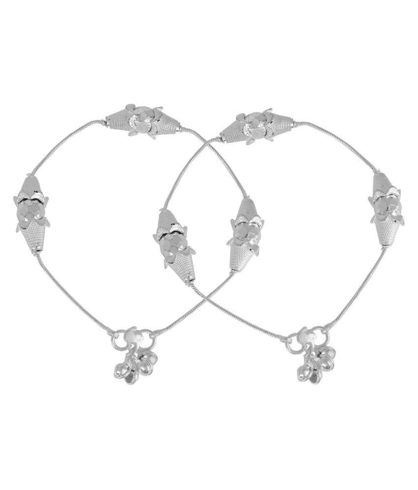 DzineTrendz Silver plated Flowerpot design Fashion Jewellery Anklet for Women