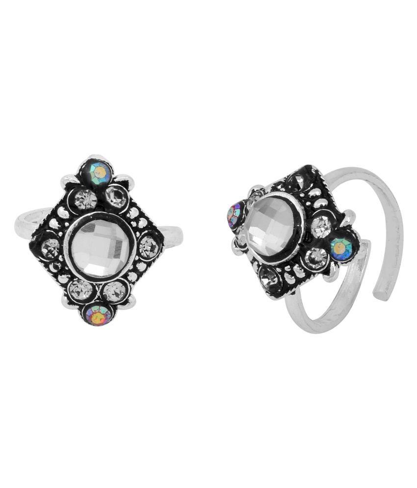 DzineTrendz Sterling Silver coated Antique finish, Colourful Mystic White Zirconia stylish Adjustable Ethnic Traditional foot ring toering Bichiya for Women