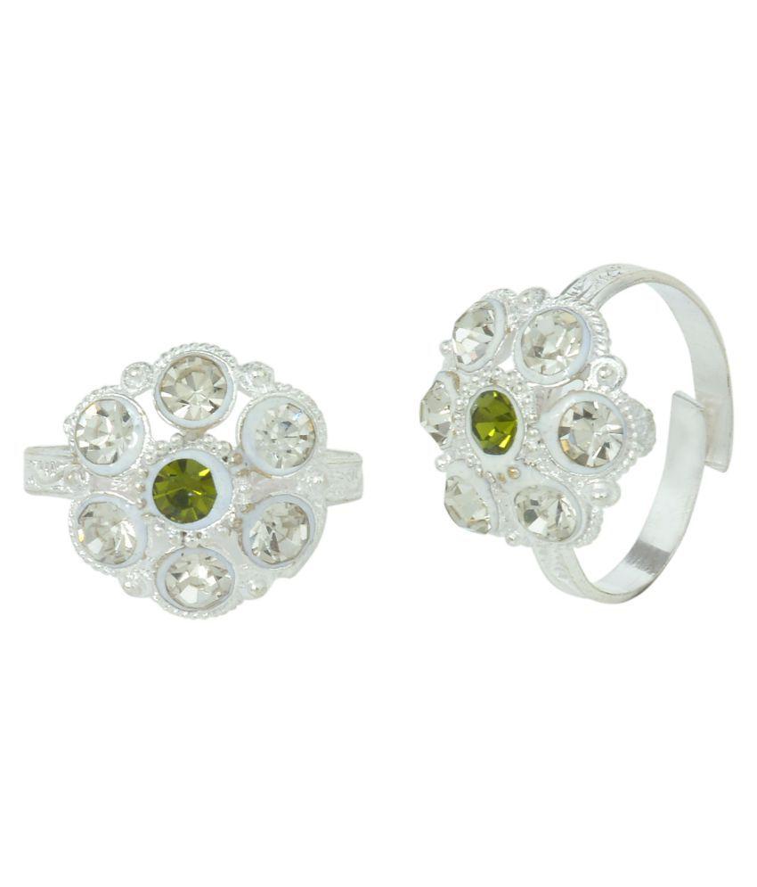 DzineTrendz White Zirconia Sterling Silver coated flower shape Green stone Toe ring Jewellery for Women