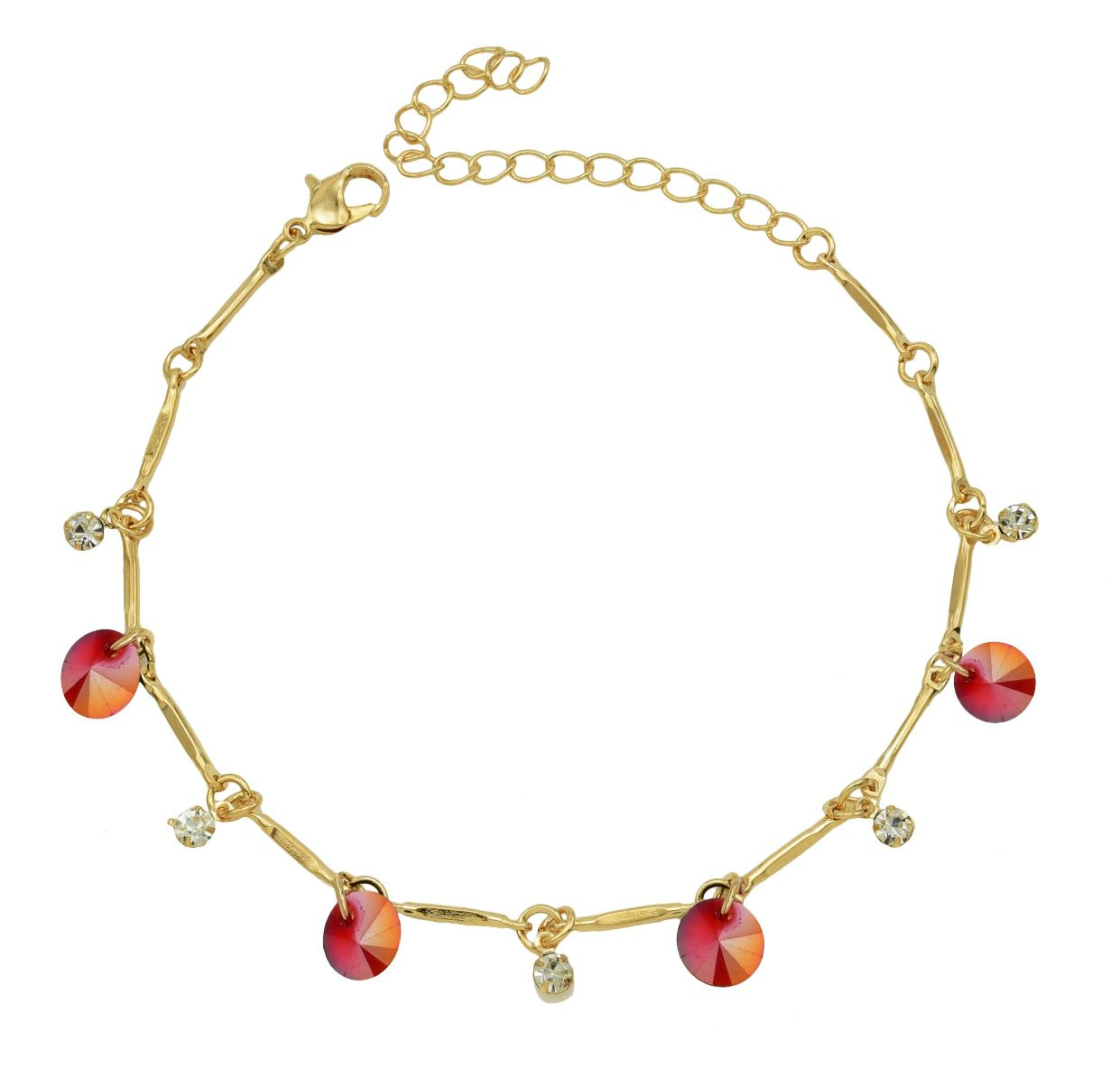 High Trendz Trendy Light Weight Gold Plated Anklet With Hanging Red Crystal For Women And Girls
