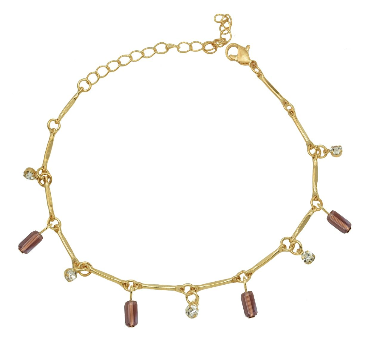 High Trendz Trendy Light Weight Gold Plated Anklet With Hanging Purple Crystal For Women And Girls