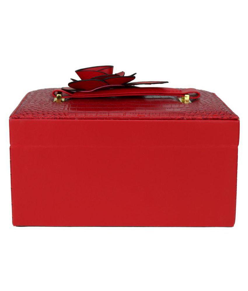 Avmart Leather Look Flower Cosmetic Organizer Makeup Storage Jewellery Travel Vanity Box