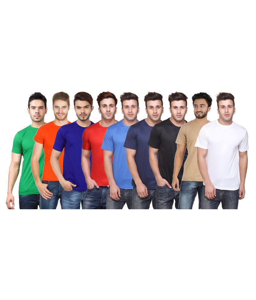 FUNKY GUYS Multi Polyester T-Shirt Pack of 9
