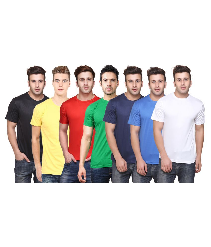 FUNKY GUYS Multi Polyester T-Shirt Pack of 7