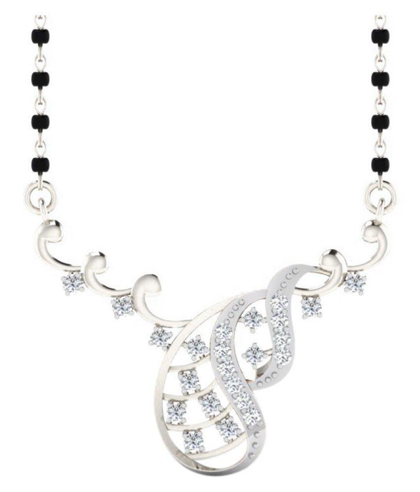 His & Her 14k White Gold Diamond Mangalsutra
