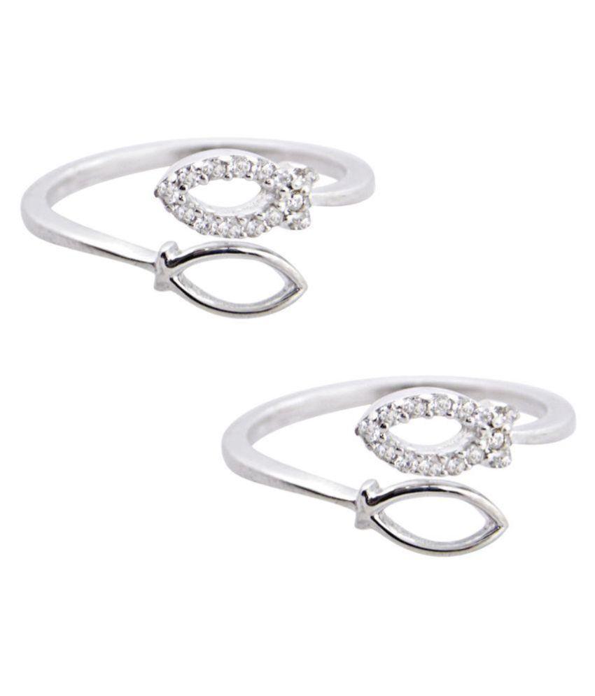 Silver Dew 925 Sterling Silver Leaf Toe Ring In Pair Of Two Fir Ladies