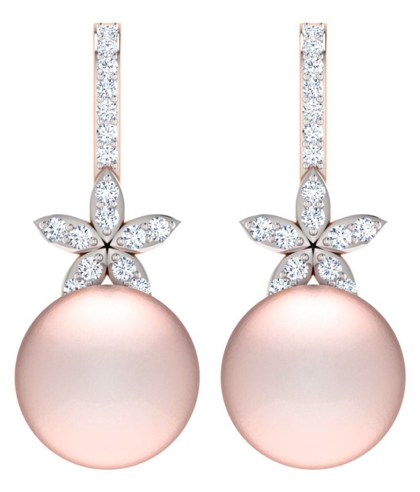 His & Her 18k BIS Hallmarked Rose Gold Pearl Drop Earrings