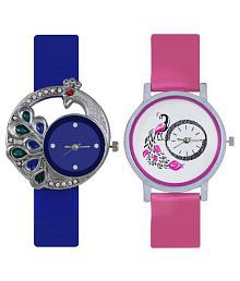 Satva-The Brand PU Strap Pink, Blue Peacock Analog Combo Watch for Girls Women