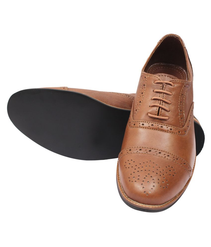 cfb557d62643 New Forever Leathers Derby Genuine Leather Brown Formal Shoes Price ...