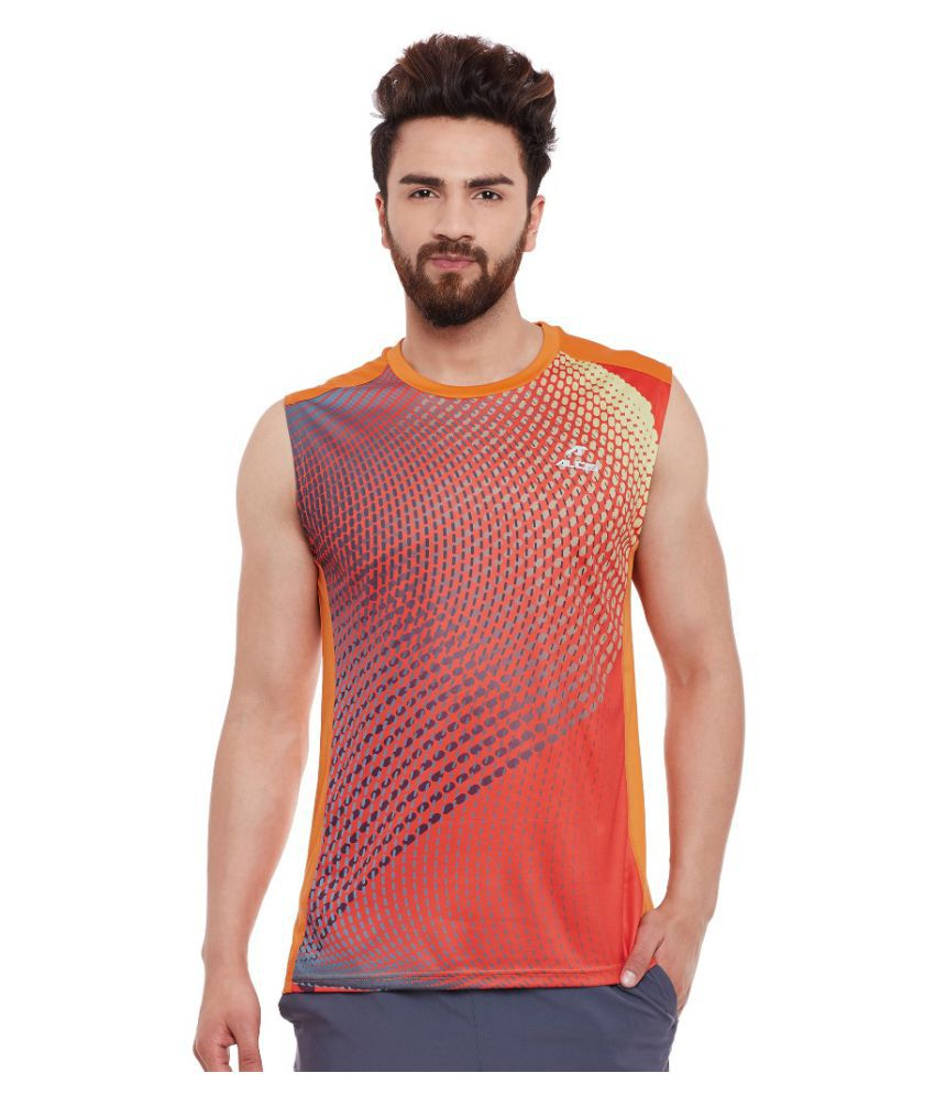 Alcis Men Printed Orange Sleeve Less