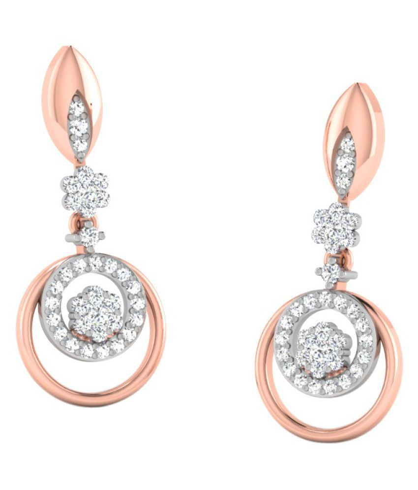 His & Her 14k Rose Gold Diamond Drop Earrings