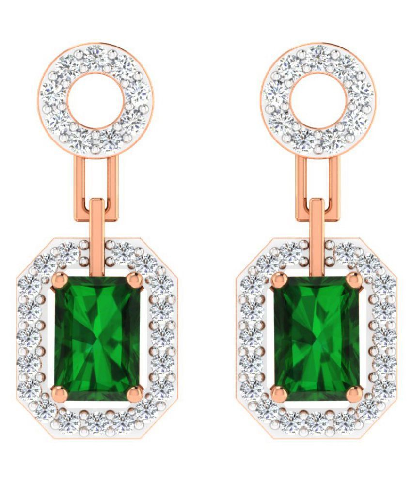 His & Her 14k Rose Gold Emerald Drop Earrings