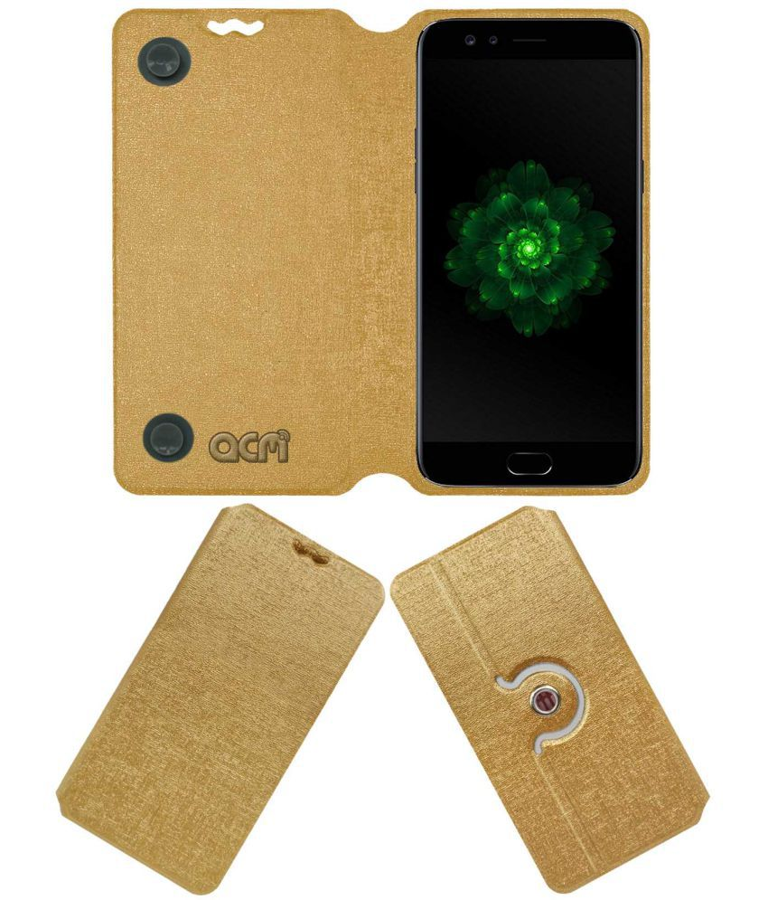 Oppo F3 Plus Dual Selfie Camera Flip Cover by ACM - Golden