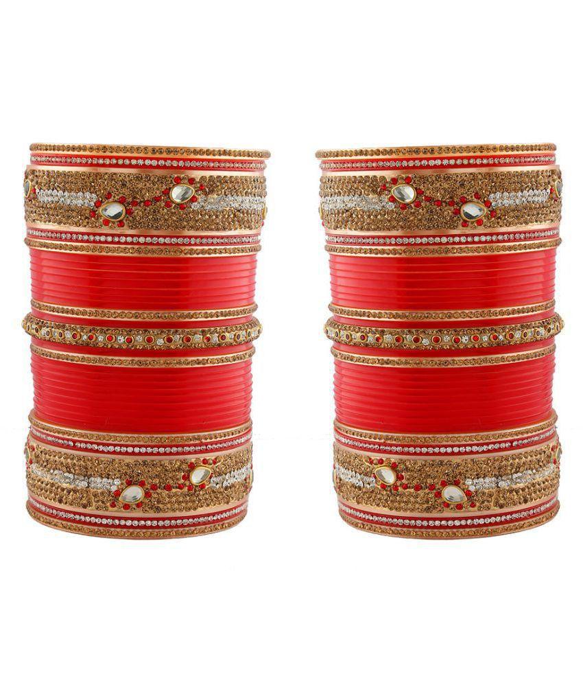 Anuradha Art Red Colour Wonderful Designer Bridal Punjabi Choora/Wedding Chudas For Women/Girls