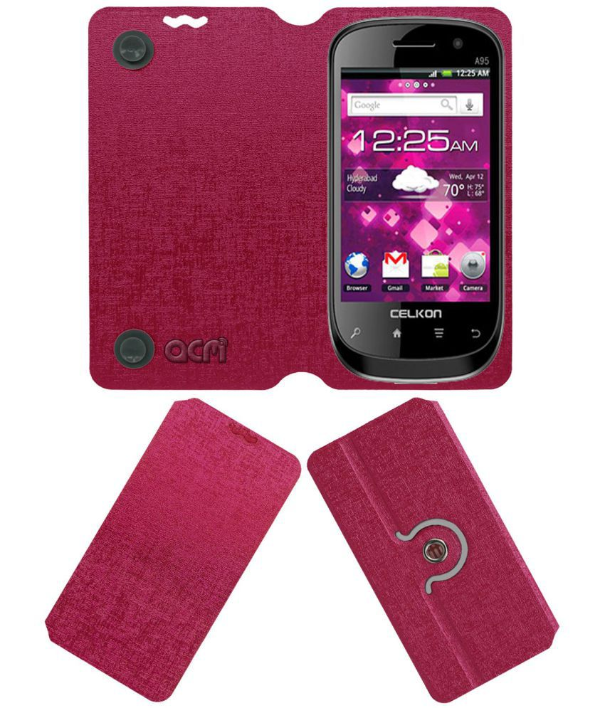 Celkon A95 Flip Cover by ACM - Pink