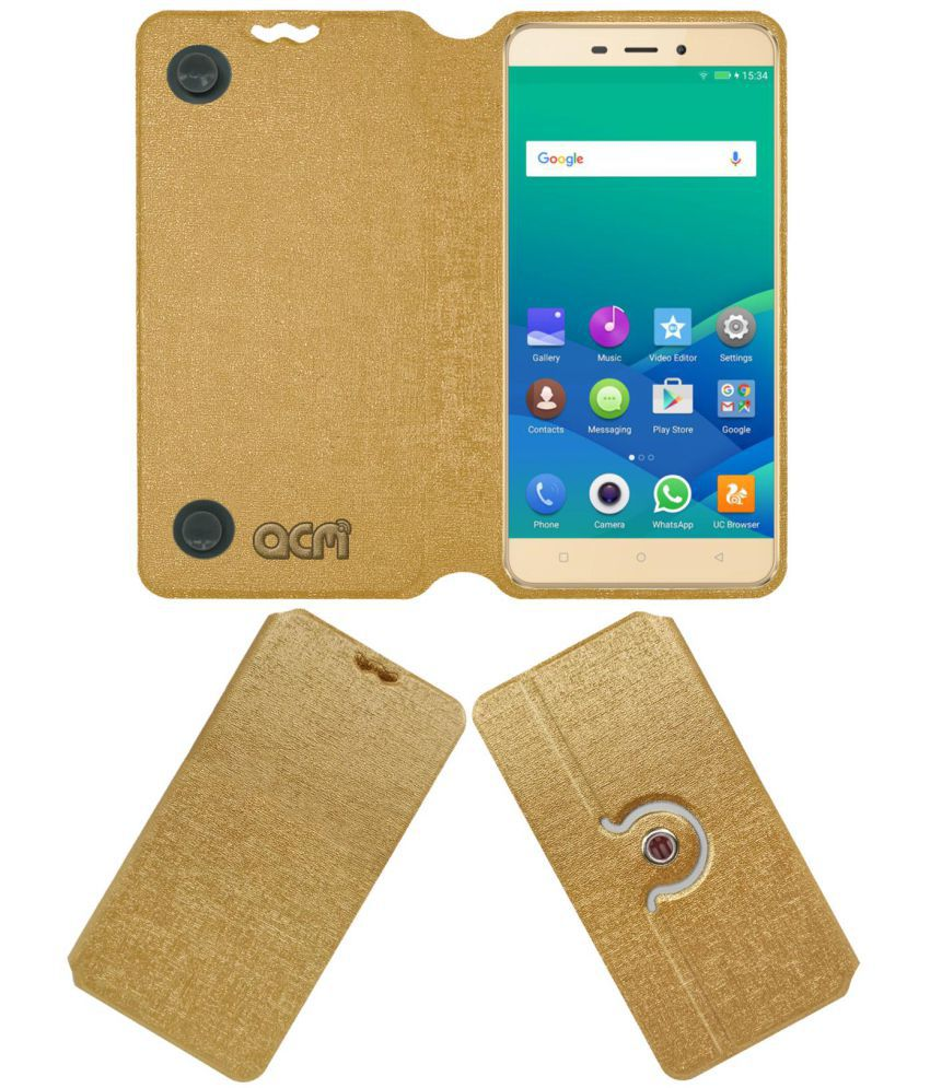 online store dc9f4 3ce78 Gionee P7 Max Flip Cover by ACM - Golden
