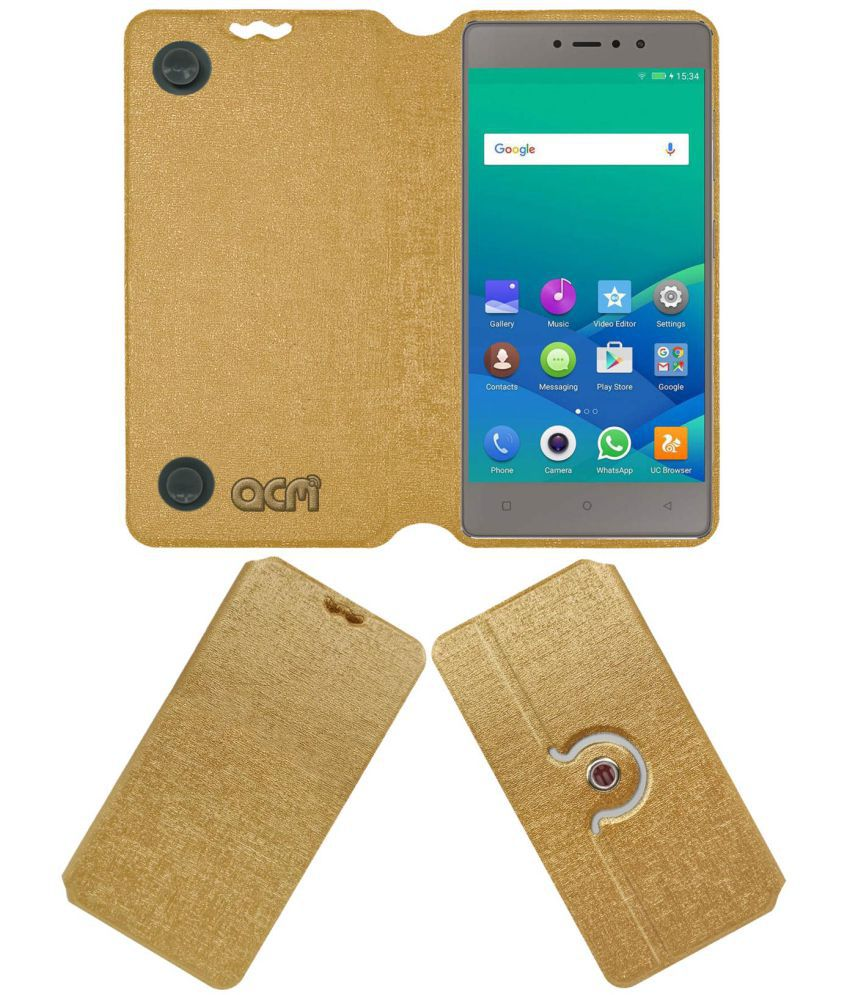 best sneakers cc5c7 708cc Gionee S6s Flip Cover by ACM - Golden