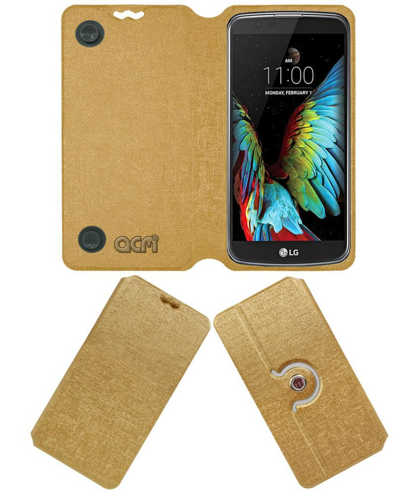 LG K10 4G Flip Cover by ACM - Golden