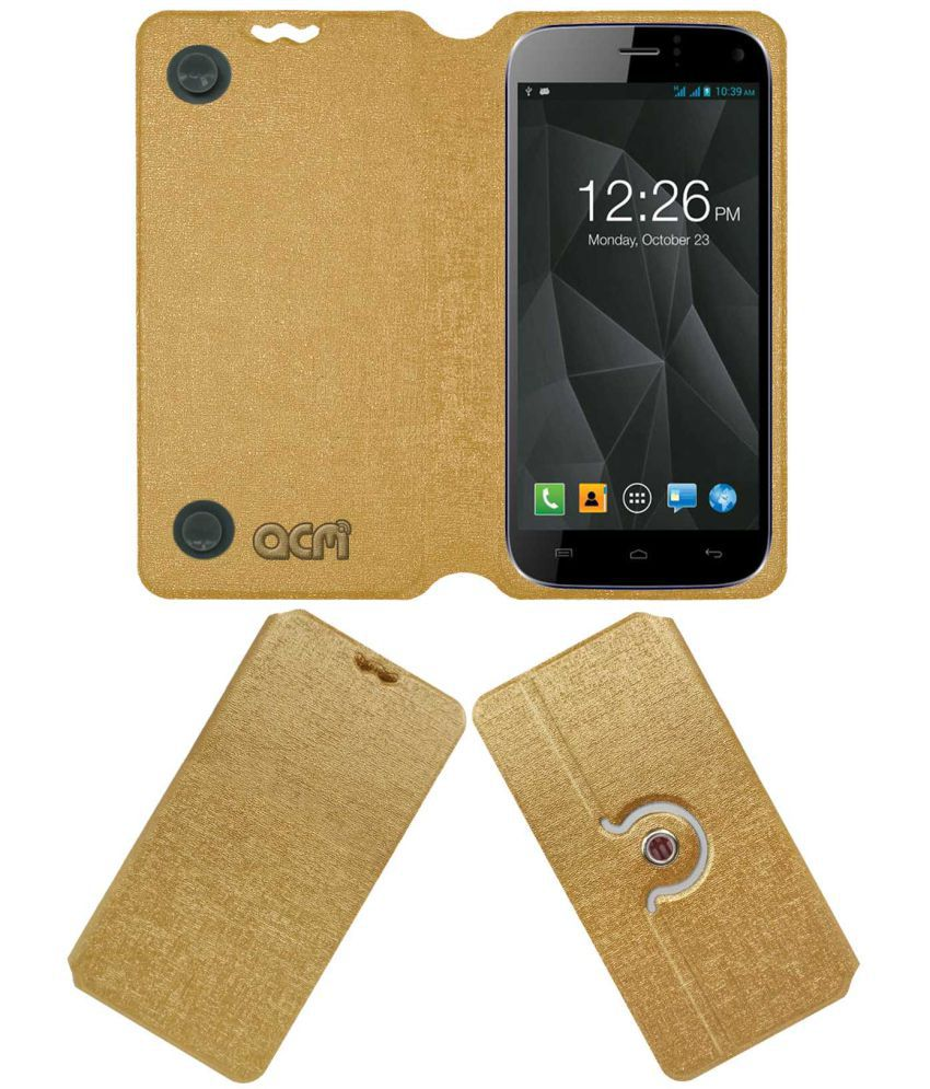 Micromax A250 Canvas Turbo Flip Cover by ACM - Golden