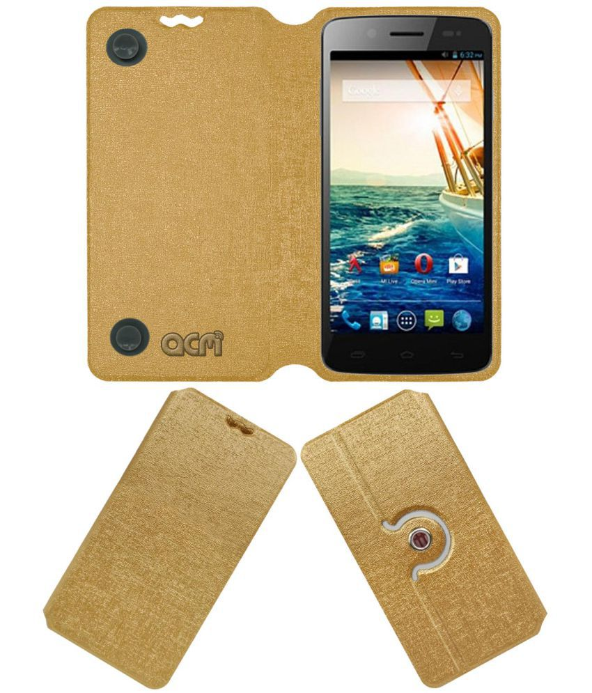 Micromax Canvas Elanza 2 Flip Cover by ACM - Golden