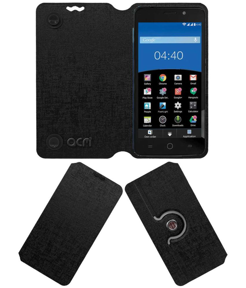 Panasonic Eluga L Flip Cover by ACM - Black