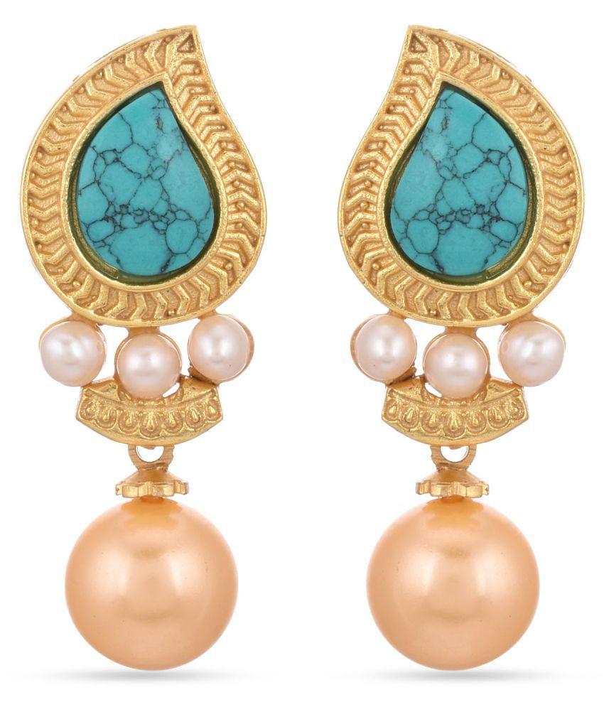 Tistabene Leafy Designer Pearls and Colored Stones Latest Trendy Designer Dangle Drop Earring For Women\Girls (ER-3237)