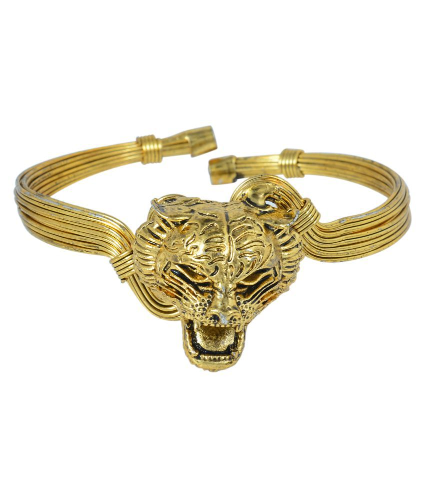 DzineTrendz Tipu Sultan Inspired Tiger Head Antique finish Gold plated Adjustable Kada Bangle Jewelry