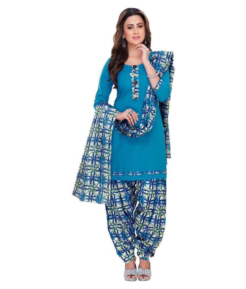 SALWAR HOUSE Blue Cotton Dress Material