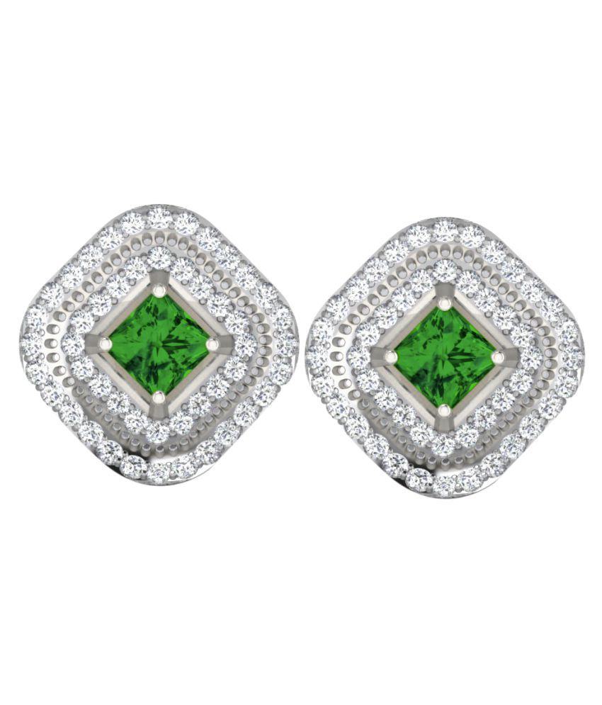 His & Her 92.5 Silver Emerald Studs