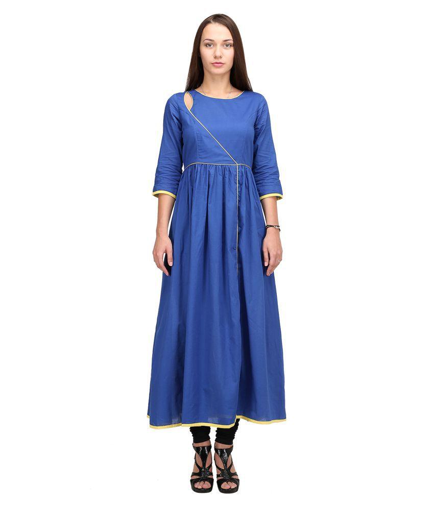 Aana Blue Cotton Anarkali Kurti