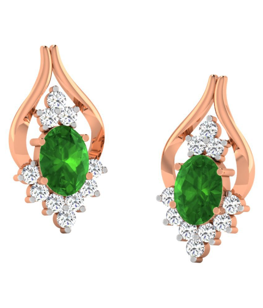 His & Her 9k Rose Gold Emerald Studs