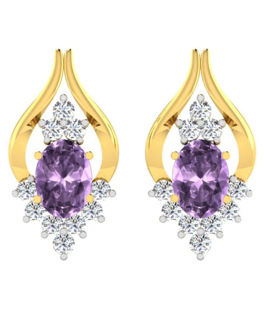 His & Her 9k Yellow Gold Amethyst Studs