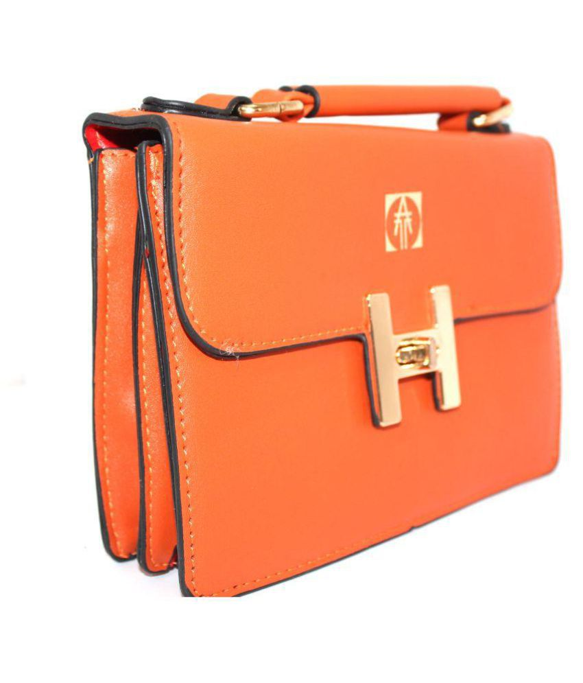 Technology Ahead Orange Faux Leather Sling Bag