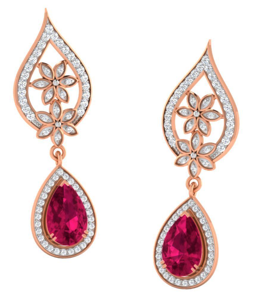 His & Her 9k Rose Gold Ruby Drop Earrings