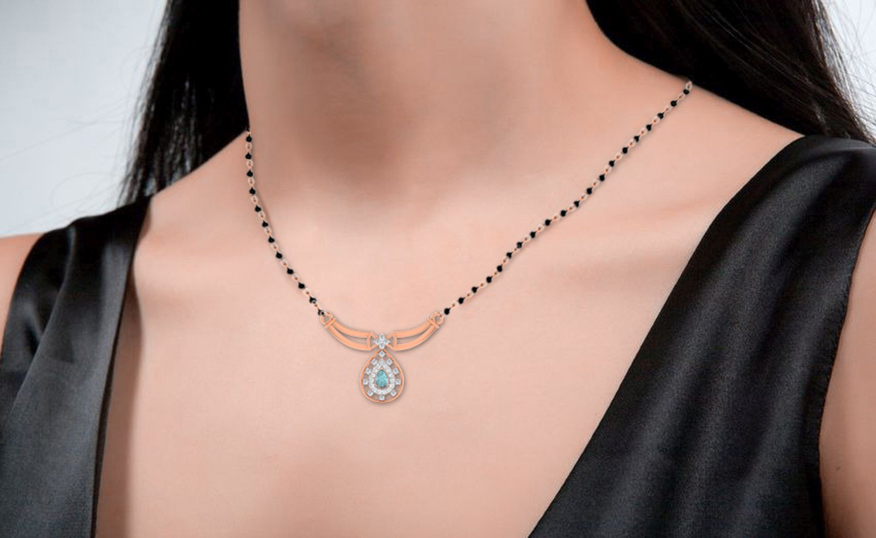 His & Her 9k Rose Gold Aquamarine Mangalsutra