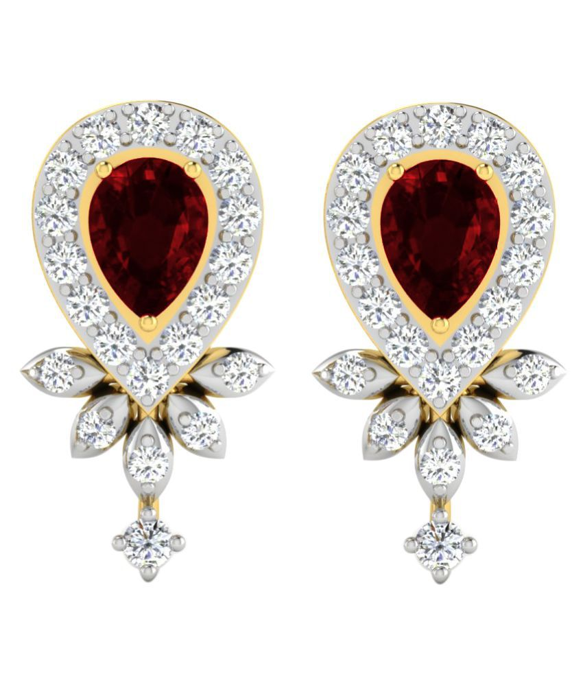 His & Her 9k Yellow Gold Garnet Studs