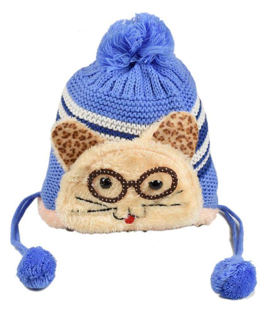 Tiekart Cute Funky Blue Winter Warm Woolen Cap for Kids