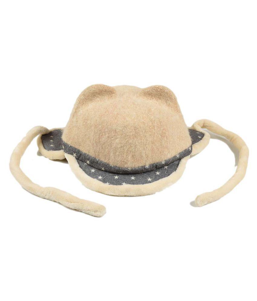 Tiekart Cute Funky Cream Winter Warm Woolen Cap With Side Ear Covering for Kids